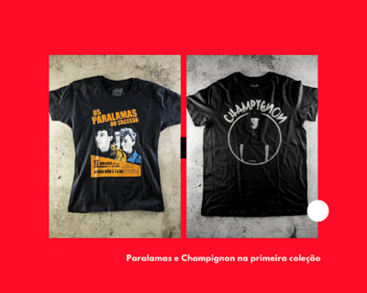 Duas camisetas da Paranoid Music Store Paralamas do Sucesso e Champignon
